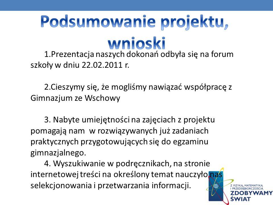 1.Prezentacja naszych dokonań odbyła się na forum szkoły w dniu 22.02.2011 r. 2.Cieszymy się, że mogliśmy nawiązać współpracę z Gimnazjum ze Wschowy 3