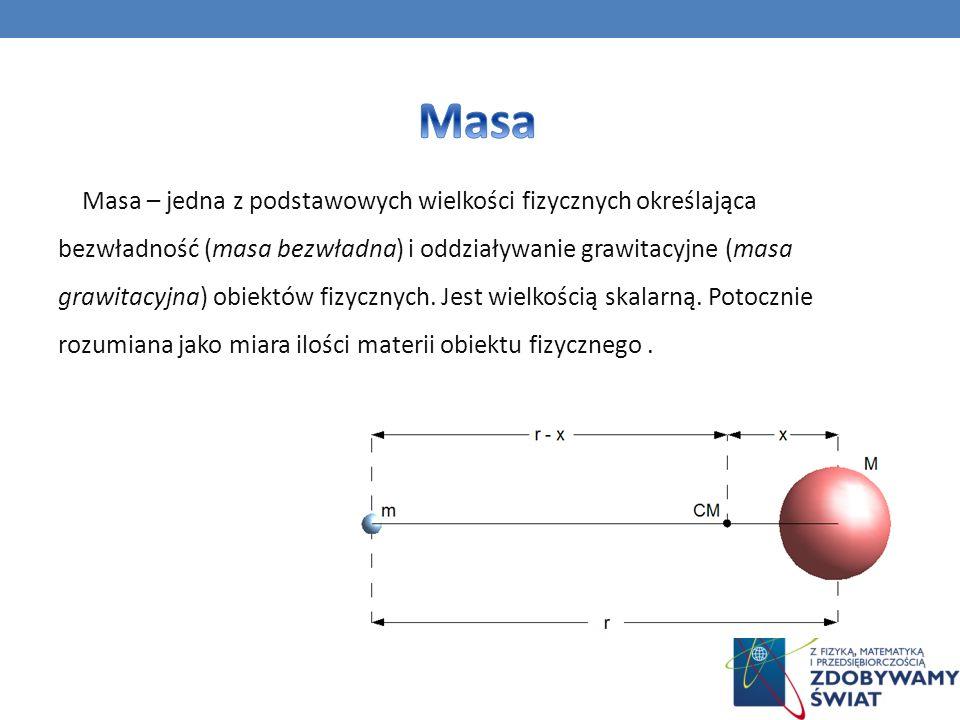 Masa – jedna z podstawowych wielkości fizycznych określająca bezwładność (masa bezwładna) i oddziaływanie grawitacyjne (masa grawitacyjna) obiektów fi