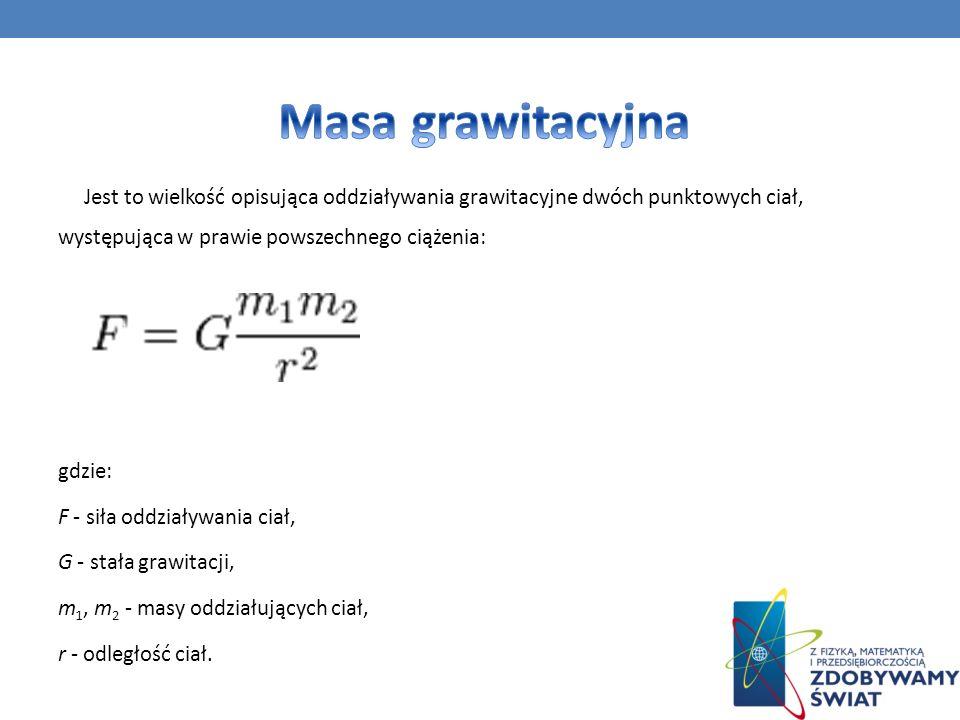 Jest to wielkość opisująca oddziaływania grawitacyjne dwóch punktowych ciał, występująca w prawie powszechnego ciążenia: gdzie: F - siła oddziaływania