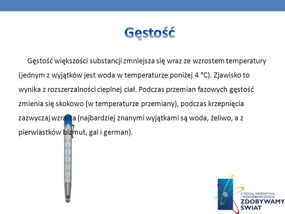 Gęstość większości substancji zmniejsza się wraz ze wzrostem temperatury (jednym z wyjątków jest woda w temperaturze poniżej 4 °C). Zjawisko to wynika