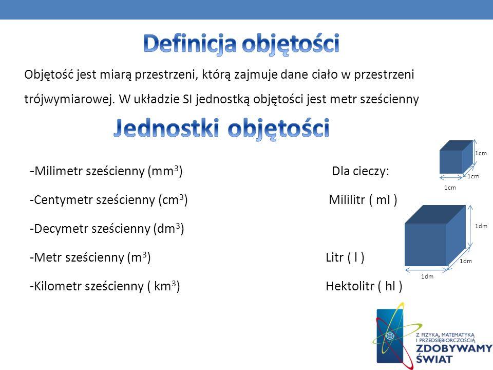 - Milimetr sześcienny (mm 3 ) Dla cieczy: -Centymetr sześcienny (cm 3 ) Mililitr ( ml ) -Decymetr sześcienny (dm 3 ) -Metr sześcienny (m 3 ) Litr ( l