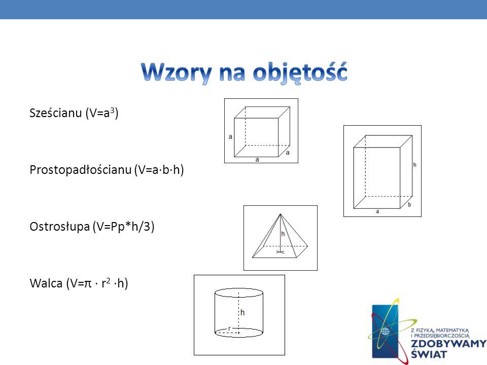 Sześcianu (V=a 3 ) Prostopadłościanu (V=a·b·h) Ostrosłupa (V=Pp*h/3) Walca (V=π · r 2 ·h)