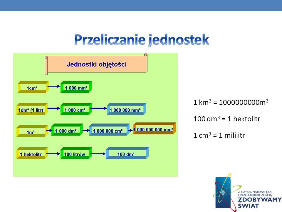 1 km 3 = 1000000000m 3 100 dm 3 = 1 hektolitr 1 cm 3 = 1 mililitr
