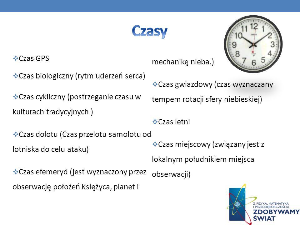 Czas GPS Czas biologiczny (rytm uderzeń serca) Czas cykliczny (postrzeganie czasu w kulturach tradycyjnych ) Czas dolotu (Czas przelotu samolotu od lo