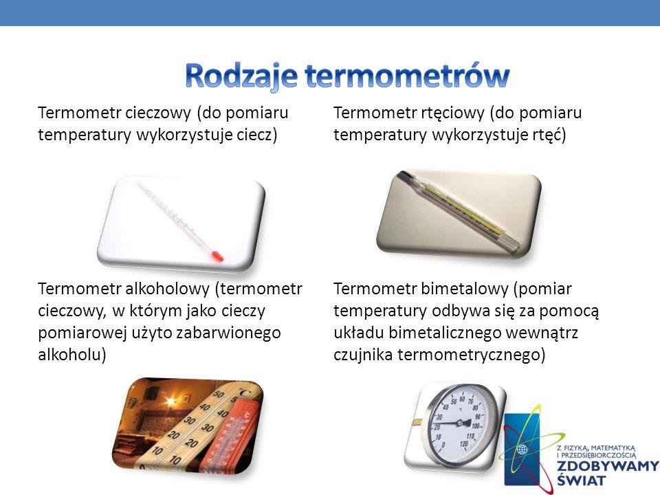 Termometr cieczowy (do pomiaru temperatury wykorzystuje ciecz) Termometr alkoholowy (termometr cieczowy, w którym jako cieczy pomiarowej użyto zabarwi