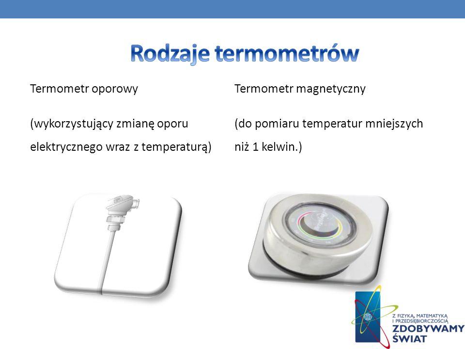 Termometr oporowy (wykorzystujący zmianę oporu elektrycznego wraz z temperaturą) Termometr magnetyczny (do pomiaru temperatur mniejszych niż 1 kelwin.