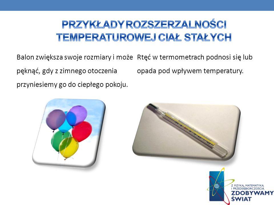 Balon zwiększa swoje rozmiary i może pęknąć, gdy z zimnego otoczenia przyniesiemy go do ciepłego pokoju. Rtęć w termometrach podnosi się lub opada pod