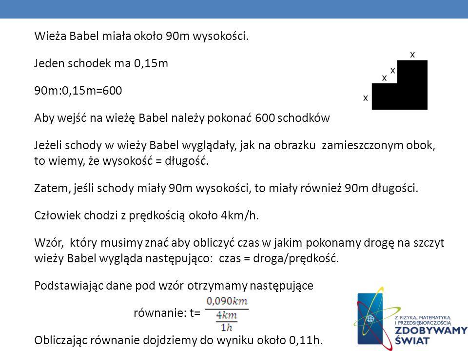 Wieża Babel miała około 90m wysokości. Jeden schodek ma 0,15m 90m:0,15m=600 Aby wejść na wieżę Babel należy pokonać 600 schodków Jeżeli schody w wieży