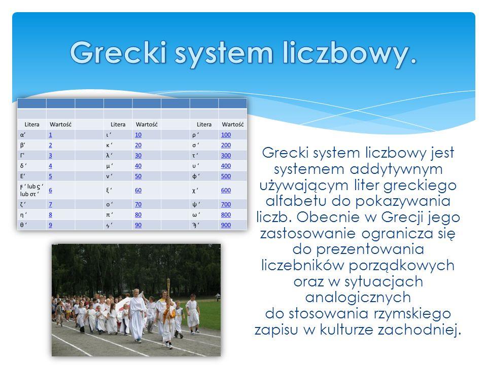 Grecki system liczbowy jest systemem addytywnym używającym liter greckiego alfabetu do pokazywania liczb.