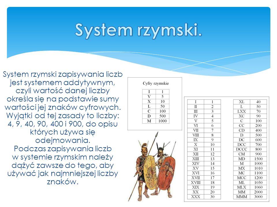 System rzymski zapisywania liczb jest systemem addytywnym, czyli wartość danej liczby określa się na podstawie sumy wartości jej znaków cyfrowych.