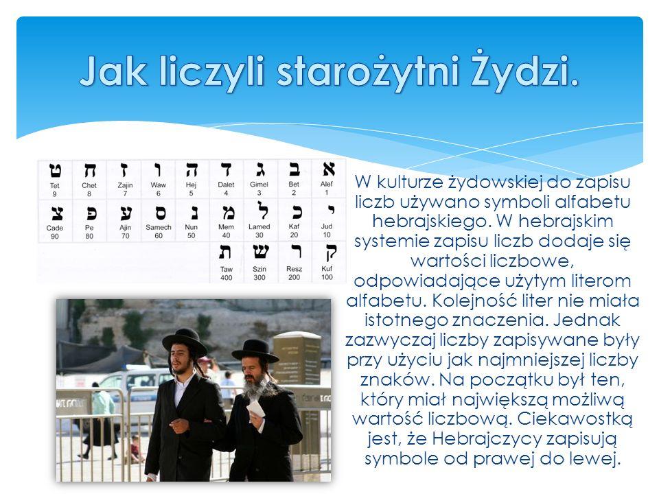 W kulturze żydowskiej do zapisu liczb używano symboli alfabetu hebrajskiego.