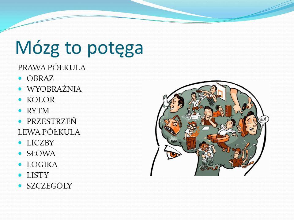 Mózg to potęga PRAWA PÓŁKULA OBRAZ WYOBRAŻNIA KOLOR RYTM PRZESTRZEŃ LEWA PÓŁKULA LICZBY SŁOWA LOGIKA LISTY SZCZEGÓLY
