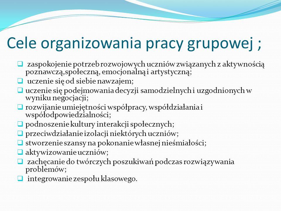 Cele organizowania pracy grupowej ; zaspokojenie potrzeb rozwojowych uczniów związanych z aktywnością poznawczą,społeczną, emocjonalną i artystyczną;