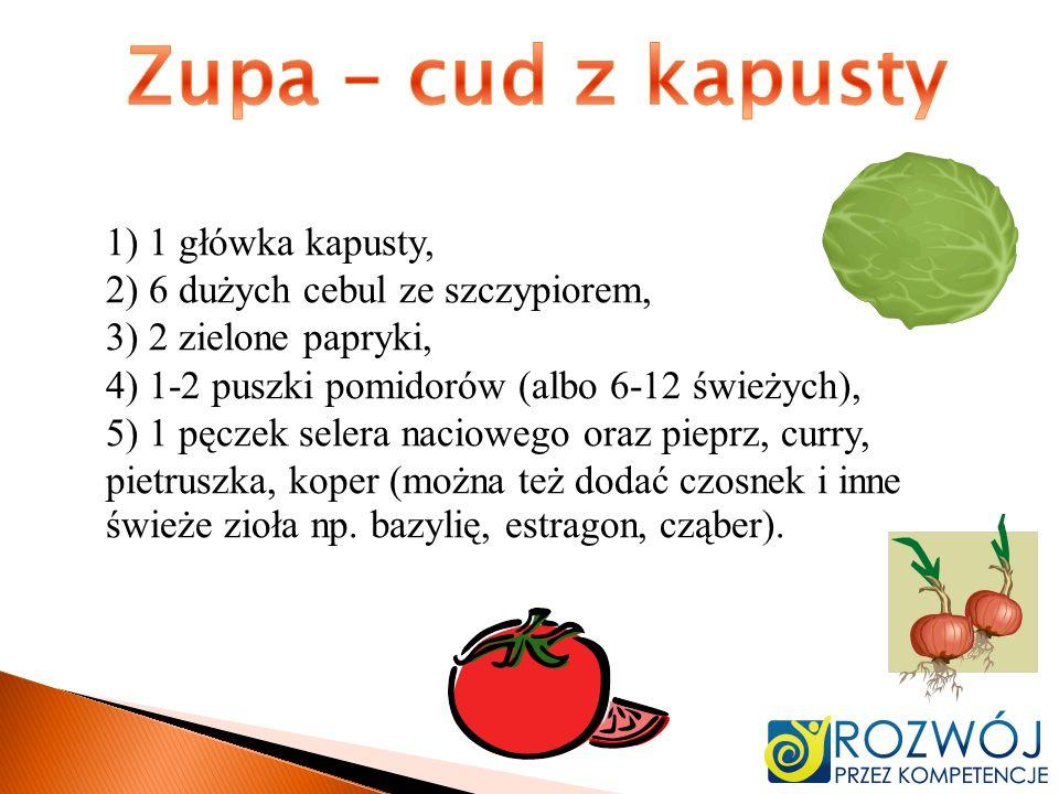 1) 1 główka kapusty, 2) 6 dużych cebul ze szczypiorem, 3) 2 zielone papryki, 4) 1-2 puszki pomidorów (albo 6-12 świeżych), 5) 1 pęczek selera nacioweg