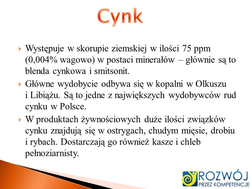 Występuje w skorupie ziemskiej w ilości 75 ppm (0,004% wagowo) w postaci minerałów – głównie są to blenda cynkowa i smitsonit. Główne wydobycie odbywa