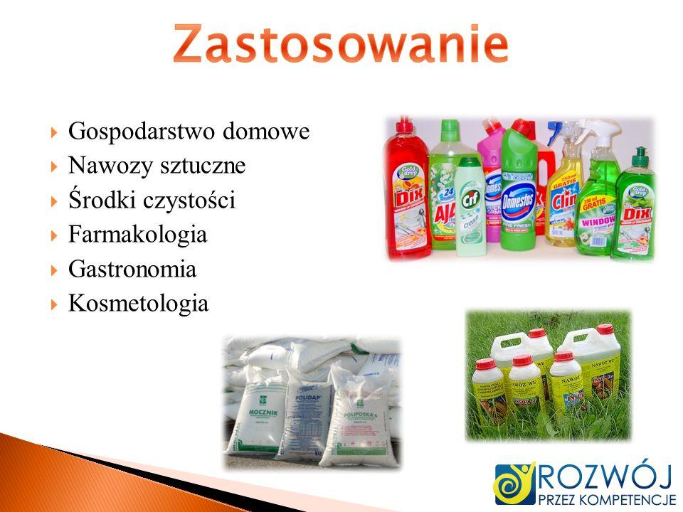 Gospodarstwo domowe Nawozy sztuczne Środki czystości Farmakologia Gastronomia Kosmetologia