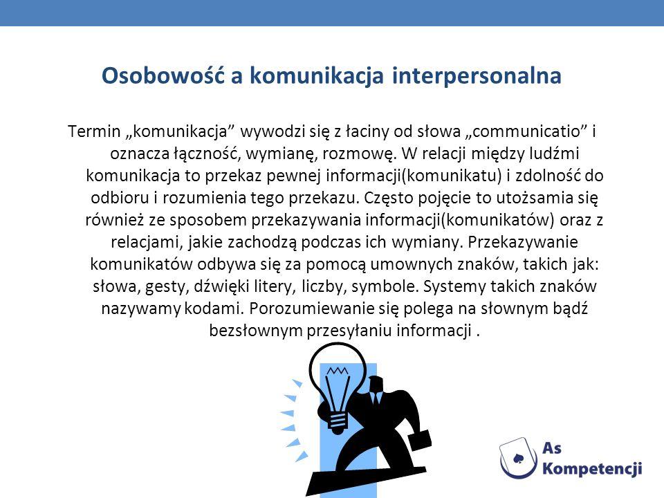 Osobowość a komunikacja interpersonalna Termin komunikacja wywodzi się z łaciny od słowa communicatio i oznacza łączność, wymianę, rozmowę. W relacji