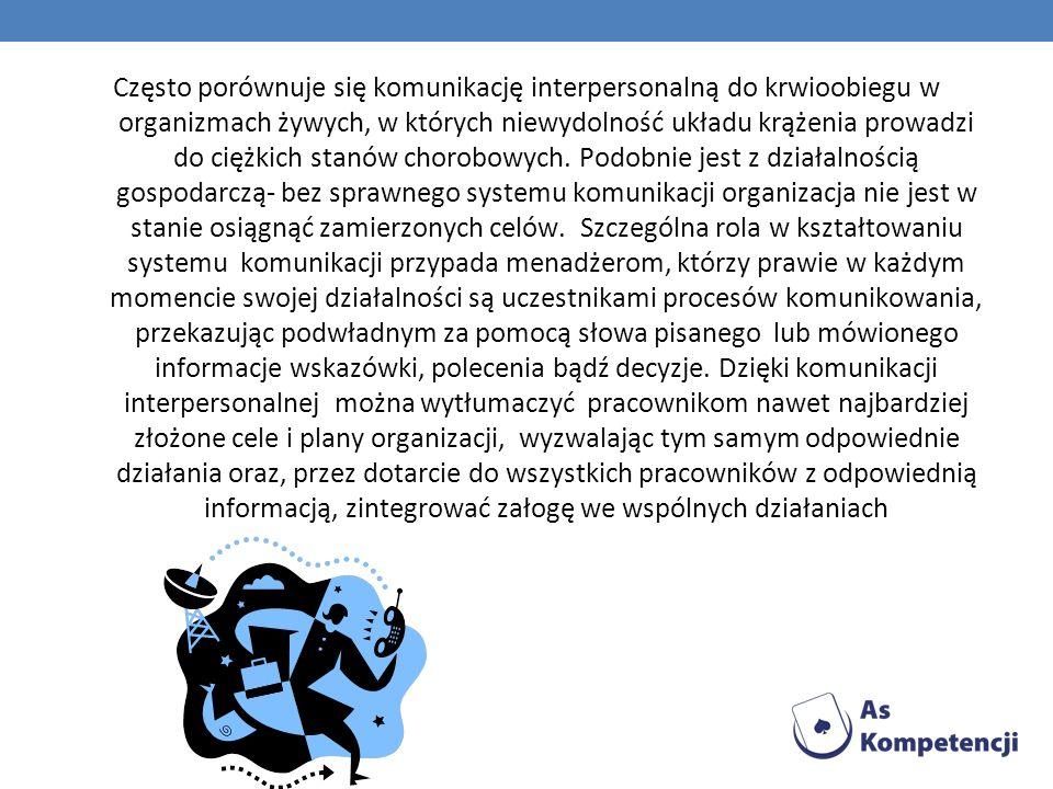 Często porównuje się komunikację interpersonalną do krwioobiegu w organizmach żywych, w których niewydolność układu krążenia prowadzi do ciężkich stan