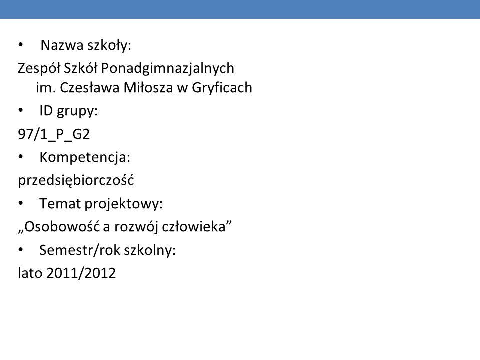 Nazwa szkoły: Zespół Szkół Ponadgimnazjalnych im. Czesława Miłosza w Gryficach ID grupy: 97/1_P_G2 Kompetencja: przedsiębiorczość Temat projektowy: Os