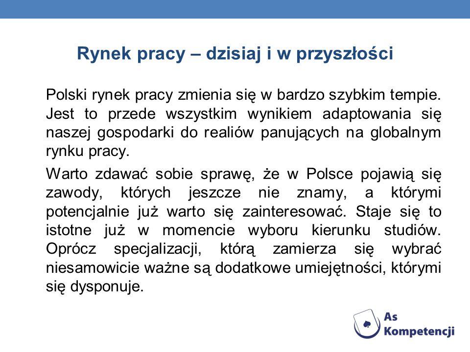 Rynek pracy – dzisiaj i w przyszłości Polski rynek pracy zmienia się w bardzo szybkim tempie. Jest to przede wszystkim wynikiem adaptowania się naszej