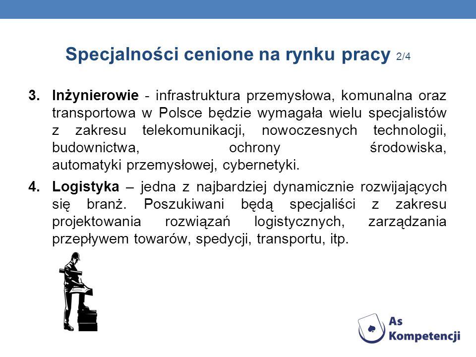 Specjalności cenione na rynku pracy 2/4 3.Inżynierowie - infrastruktura przemysłowa, komunalna oraz transportowa w Polsce będzie wymagała wielu specja