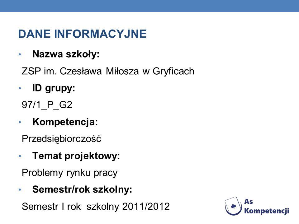 DANE INFORMACYJNE Nazwa szkoły: ZSP im. Czesława Miłosza w Gryficach ID grupy: 97/1_P_G2 Kompetencja: Przedsiębiorczość Temat projektowy: Problemy ryn