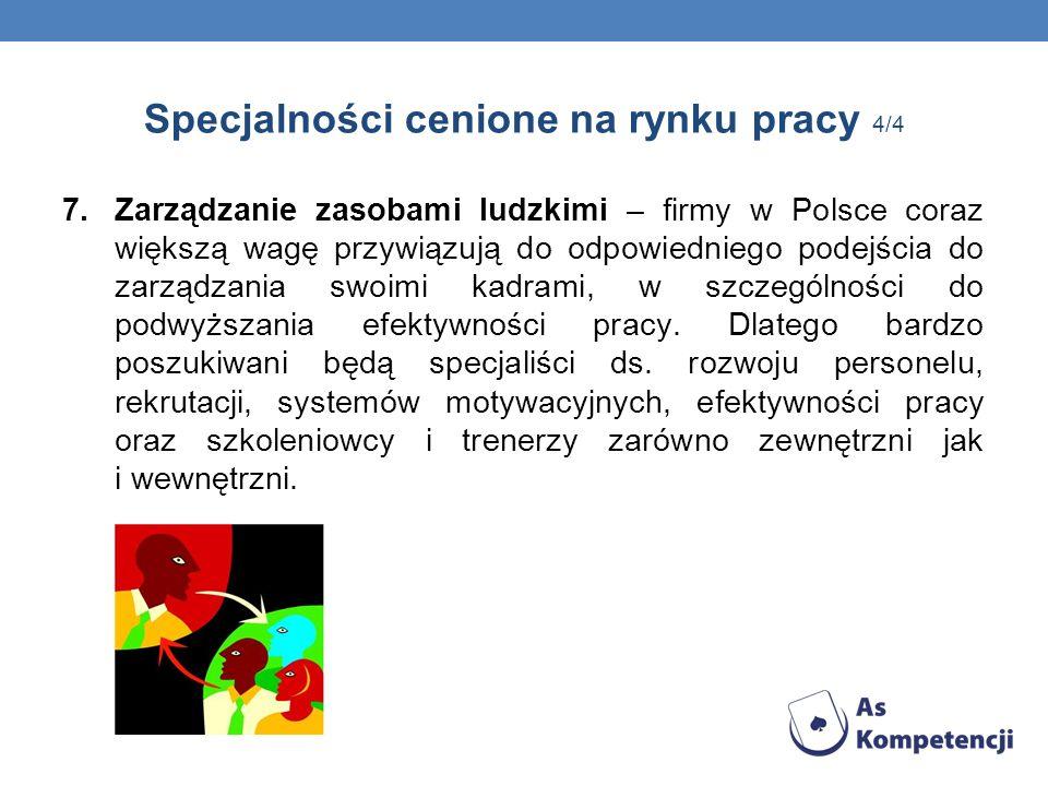 Specjalności cenione na rynku pracy 4/4 7.Zarządzanie zasobami ludzkimi – firmy w Polsce coraz większą wagę przywiązują do odpowiedniego podejścia do