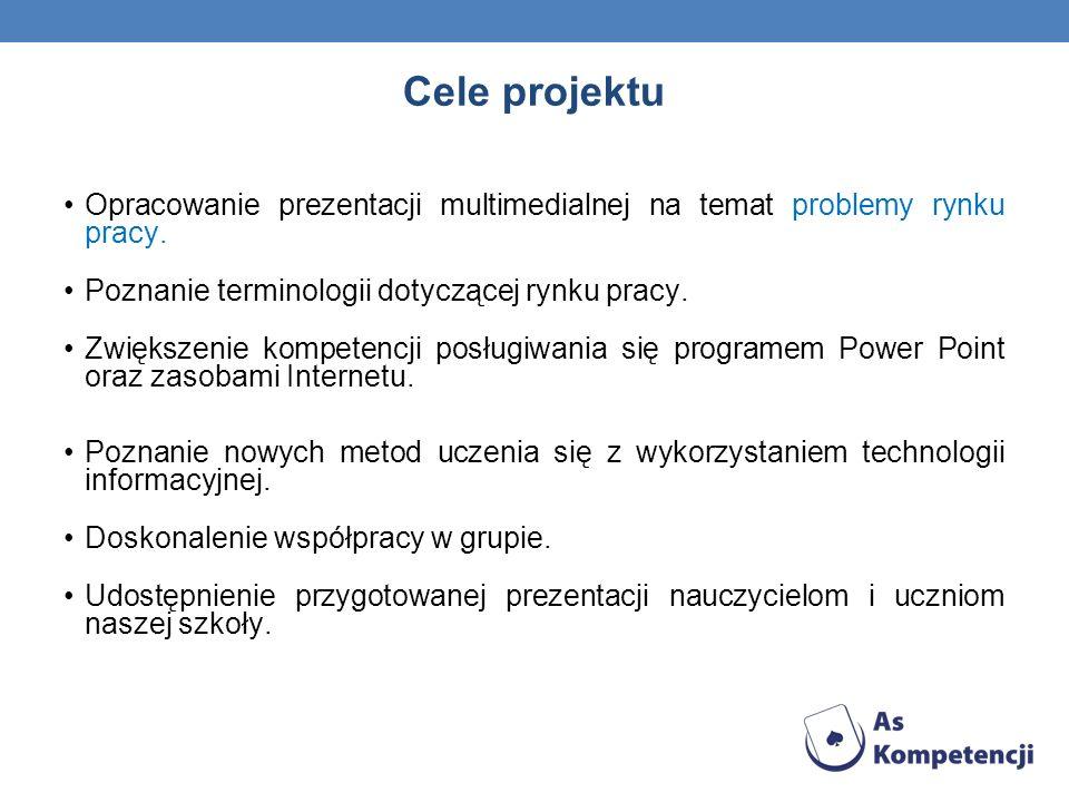 Cele projektu Opracowanie prezentacji multimedialnej na temat problemy rynku pracy. Poznanie terminologii dotyczącej rynku pracy. Zwiększenie kompeten