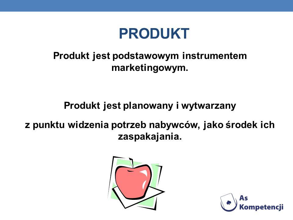 PRODUKT Produkt jest podstawowym instrumentem marketingowym. Produkt jest planowany i wytwarzany z punktu widzenia potrzeb nabywców, jako środek ich z