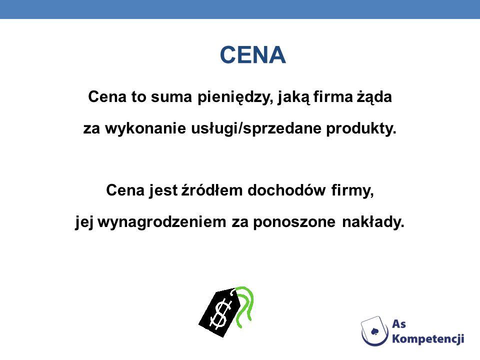 CENA Cena to suma pieniędzy, jaką firma żąda za wykonanie usługi/sprzedane produkty. Cena jest źródłem dochodów firmy, jej wynagrodzeniem za ponoszone