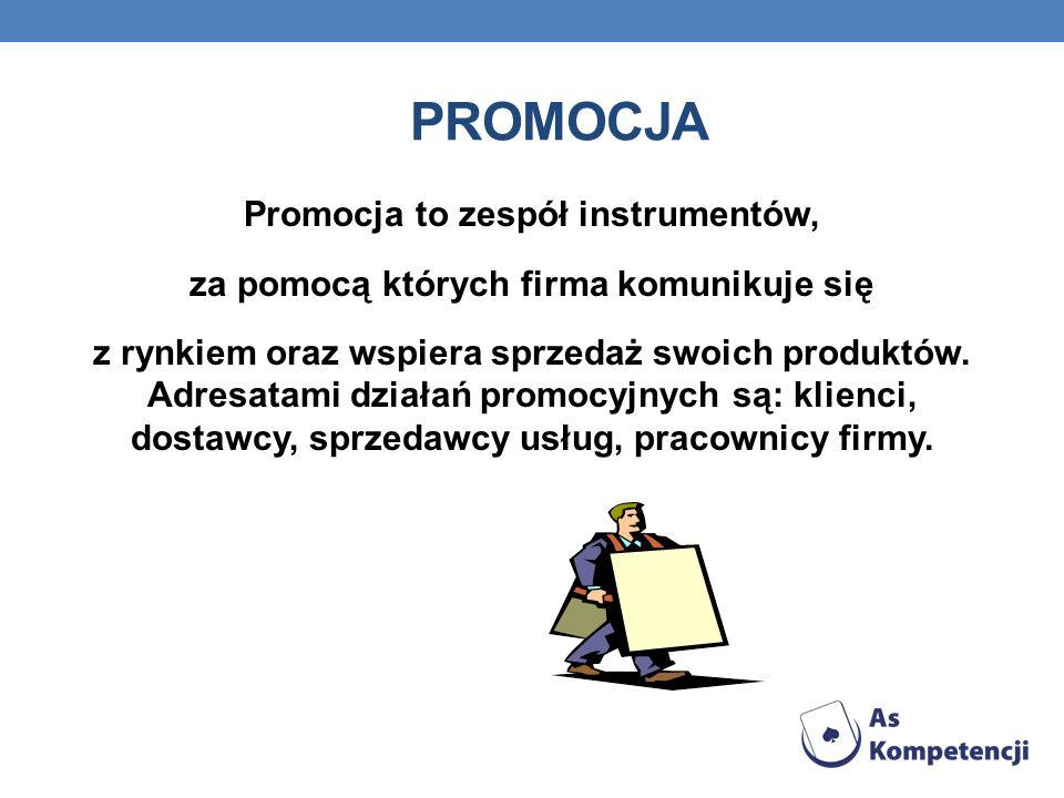 PROMOCJA Promocja to zespół instrumentów, za pomocą których firma komunikuje się z rynkiem oraz wspiera sprzedaż swoich produktów. Adresatami działań
