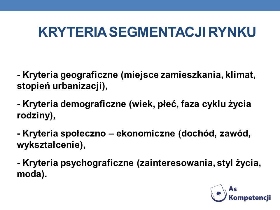 KRYTERIA SEGMENTACJI RYNKU - Kryteria geograficzne (miejsce zamieszkania, klimat, stopień urbanizacji), - Kryteria demograficzne (wiek, płeć, faza cyk