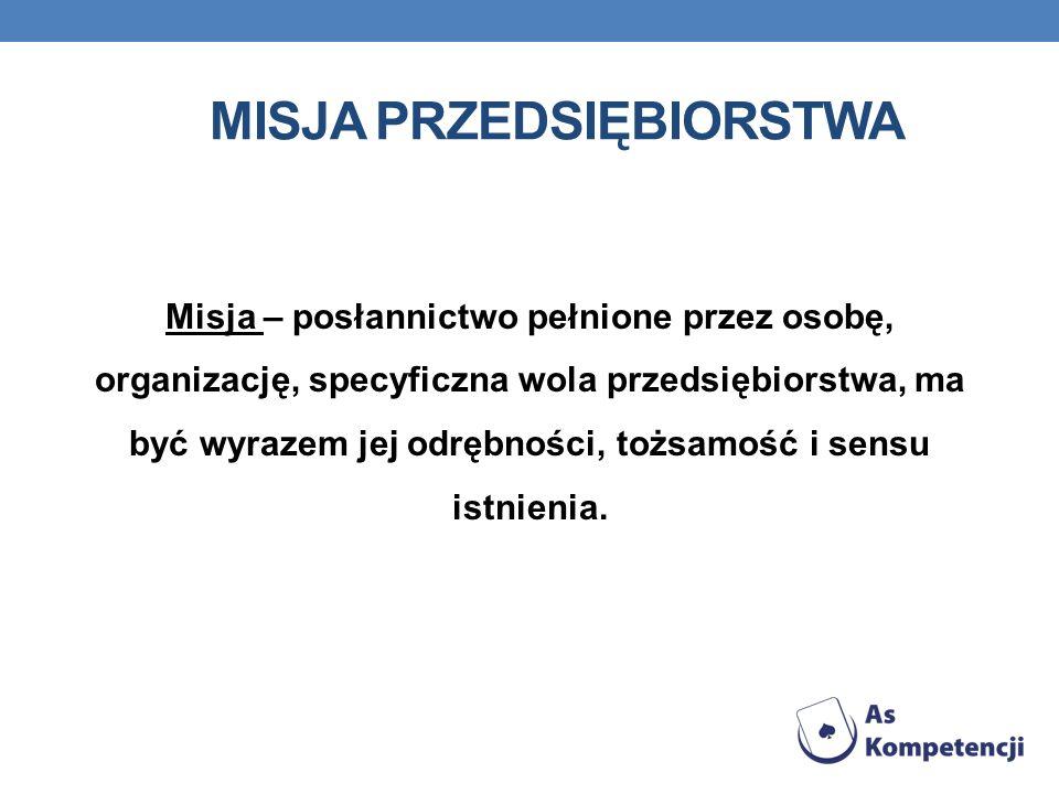 MISJA PRZEDSIĘBIORSTWA Misja – posłannictwo pełnione przez osobę, organizację, specyficzna wola przedsiębiorstwa, ma być wyrazem jej odrębności, tożsa