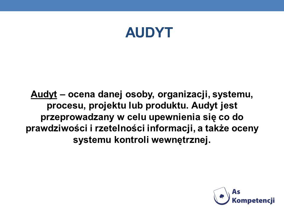 AUDYT Audyt – ocena danej osoby, organizacji, systemu, procesu, projektu lub produktu. Audyt jest przeprowadzany w celu upewnienia się co do prawdziwo