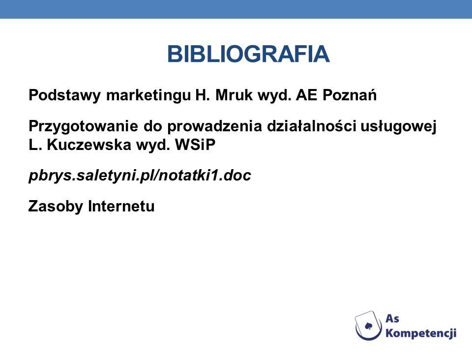 BIBLIOGRAFIA Podstawy marketingu H.Mruk wyd.
