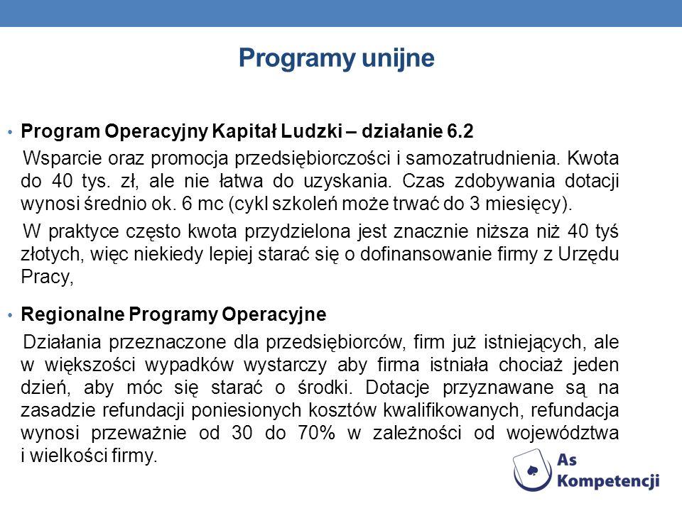 Programy unijne Program Operacyjny Kapitał Ludzki – działanie 6.2 Wsparcie oraz promocja przedsiębiorczości i samozatrudnienia. Kwota do 40 tys. zł, a