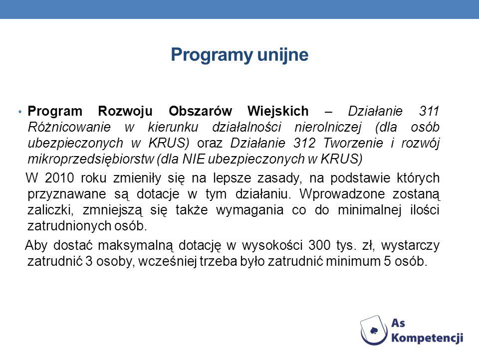 Programy unijne Program Rozwoju Obszarów Wiejskich – Działanie 311 Różnicowanie w kierunku działalności nierolniczej (dla osób ubezpieczonych w KRUS)