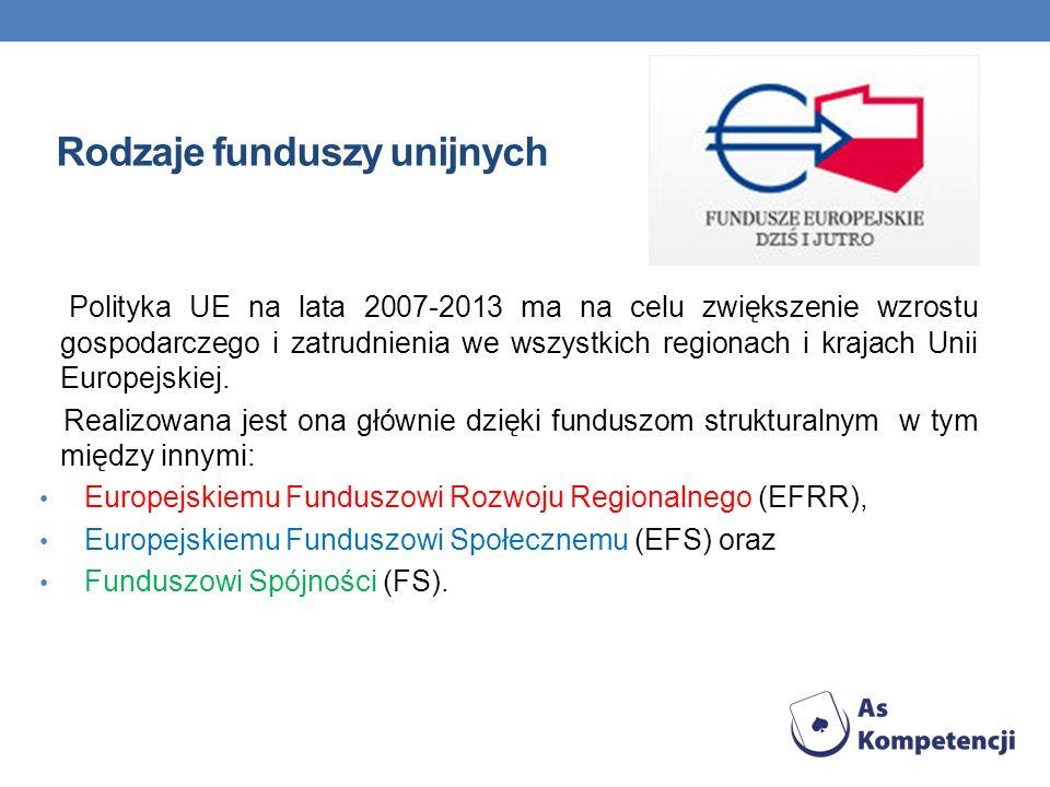 Rodzaje funduszy unijnych Polityka UE na lata 2007-2013 ma na celu zwiększenie wzrostu gospodarczego i zatrudnienia we wszystkich regionach i krajach