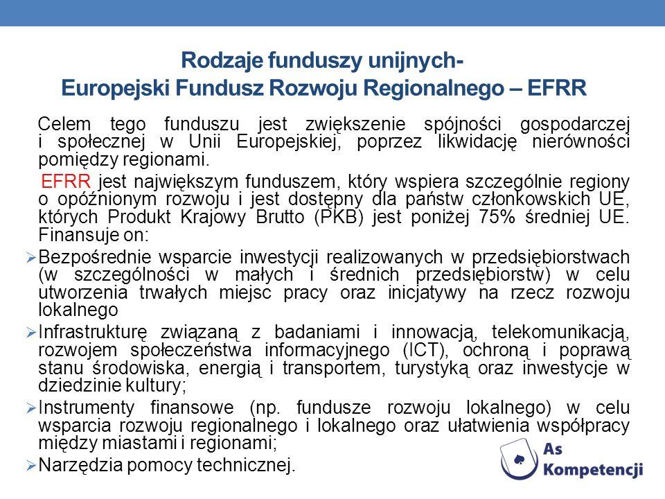 Rodzaje funduszy unijnych- Europejski Fundusz Rozwoju Regionalnego – EFRR Celem tego funduszu jest zwiększenie spójności gospodarczej i społecznej w U