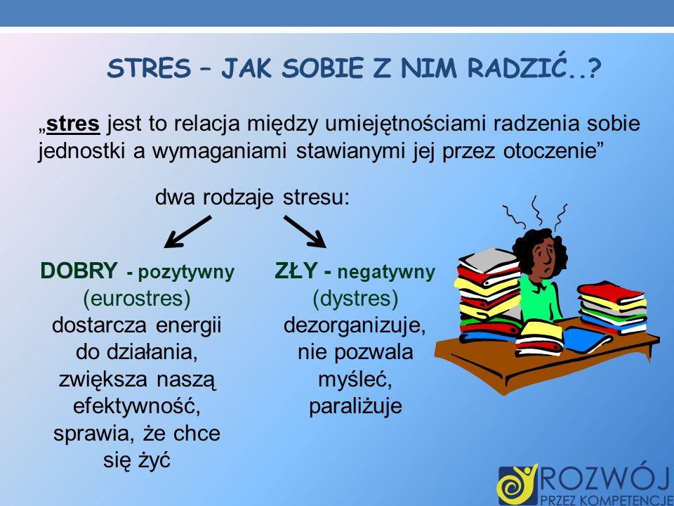 STRES – JAK SOBIE Z NIM RADZIĆ..? stres jest to relacja między umiejętnościami radzenia sobie jednostki a wymaganiami stawianymi jej przez otoczenie d