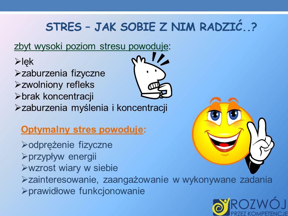 STRES – JAK SOBIE Z NIM RADZIĆ..? zbyt wysoki poziom stresu powoduje: lęk zaburzenia fizyczne zwolniony refleks brak koncentracji zaburzenia myślenia