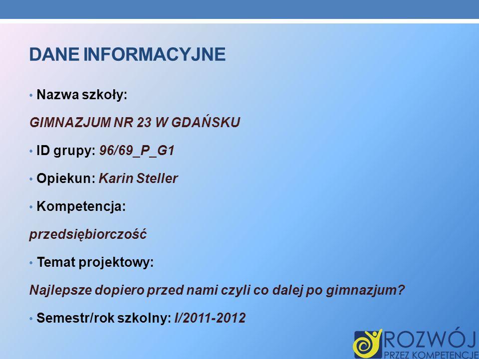 DANE INFORMACYJNE Nazwa szkoły: GIMNAZJUM NR 23 W GDAŃSKU ID grupy: 96/69_P_G1 Opiekun: Karin Steller Kompetencja: przedsiębiorczość Temat projektowy: