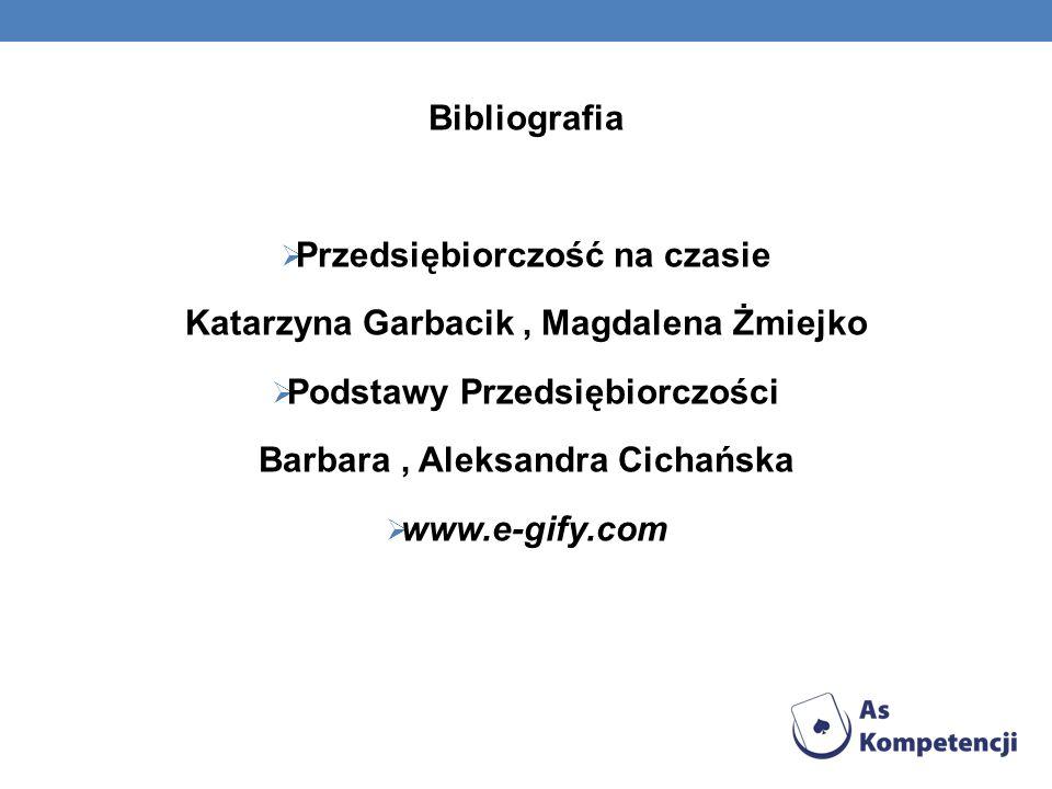 Bibliografia Przedsiębiorczość na czasie Katarzyna Garbacik, Magdalena Żmiejko Podstawy Przedsiębiorczości Barbara, Aleksandra Cichańska www.e-gify.co