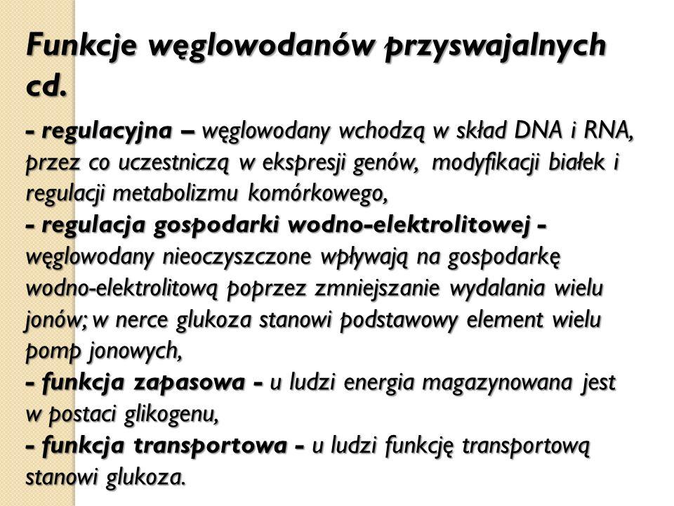 Funkcje węglowodanów przyswajalnych cd. - regulacyjna – węglowodany wchodzą w skład DNA i RNA, przez co uczestniczą w ekspresji genów, modyfikacji bia