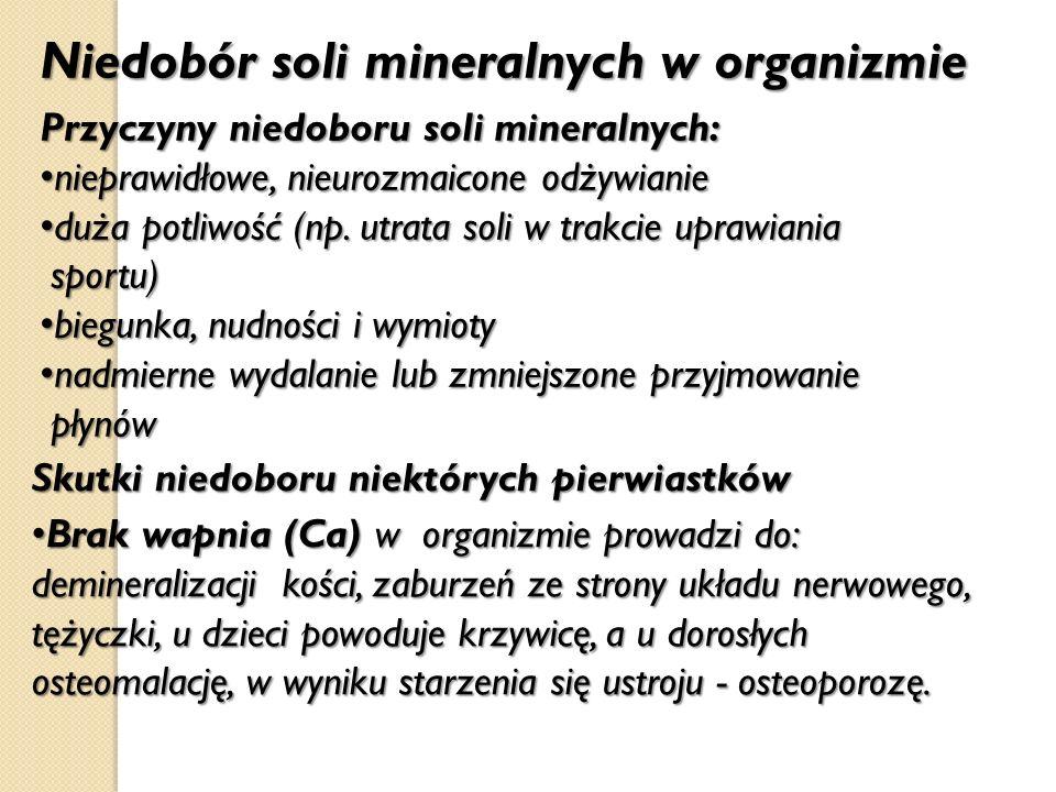 Niedobór soli mineralnych w organizmie Przyczyny niedoboru soli mineralnych: nieprawidłowe, nieurozmaicone odżywianie nieprawidłowe, nieurozmaicone od