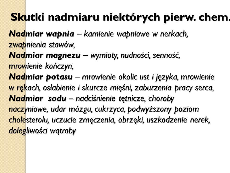 Skutki nadmiaru niektórych pierw. chem. Nadmiar wapnia – kamienie wapniowe w nerkach, zwapnienia stawów, Nadmiar magnezu – wymioty, nudności, senność,