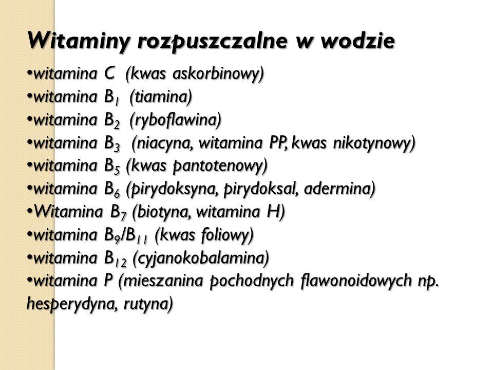 Witaminy rozpuszczalne w wodzie witamina C (kwas askorbinowy) witamina C (kwas askorbinowy) witamina B 1 (tiamina) witamina B 1 (tiamina) witamina B 2