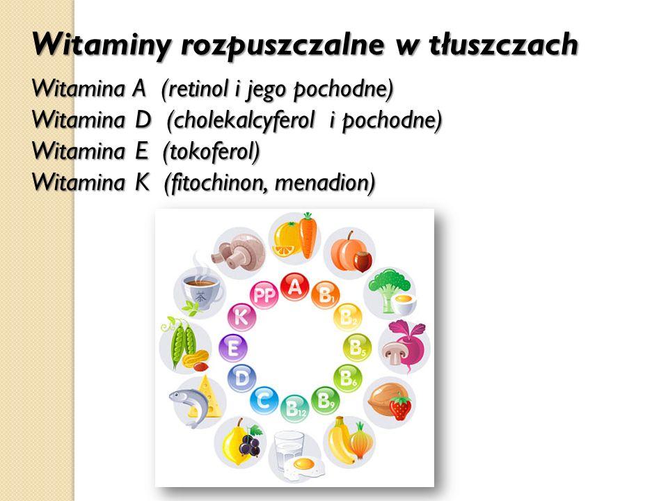 Witaminy rozpuszczalne w tłuszczach Witamina A (retinol i jego pochodne) Witamina D (cholekalcyferol i pochodne) Witamina E (tokoferol) Witamina K (fi