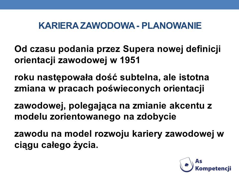KARIERA ZAWODOWA - PLANOWANIE Od czasu podania przez Supera nowej definicji orientacji zawodowej w 1951 roku następowała dość subtelna, ale istotna zm