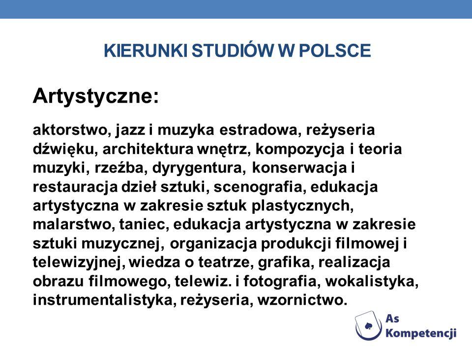 KIERUNKI STUDIÓW W POLSCE Artystyczne: aktorstwo, jazz i muzyka estradowa, reżyseria dźwięku, architektura wnętrz, kompozycja i teoria muzyki, rzeźba,